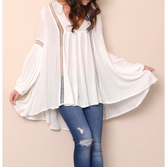6b78967f0df Free People Tops - Free People Tunic Top Just the Two of Us White M
